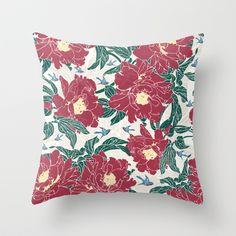 Little Blue Birds in My Peony Garden Throw Pillow by Paula Belle Flores - $20.00