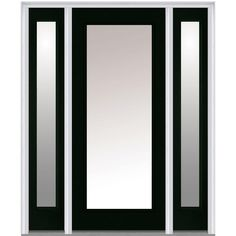 Milliken Millwork 68.5 in. x 81.75 in. Classic Clear Glass Full Lite Painted Fiberglass Smooth Exterior Door with Sidelites, Hunter Green