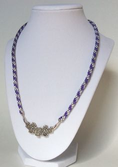 Silver and Purple Kumihimo Necklace w/ Silver Pewter Flower Charm, Braided Necklace, Rope Necklace, Kumihimo Necklace, Flower Necklace, Cute by CreationsByLacieK on Etsy