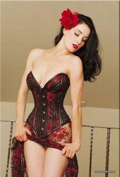 Dita Von Teese In Black & Red Corset
