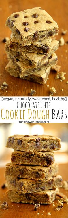 Chocolate Chip Cookie Dough Bars -- these soft and chewy vegan cookie dough bars are naturally sweetened with dates and maple syrup! Healthy and delicious, they're a great way to satisfy those cookie cravings! || runningwithspoons.com