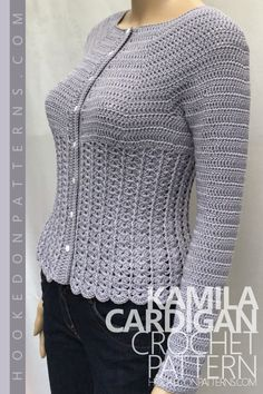Pin the Kamila Fitted Cardigan Crochet Pattern from Hooked On Patterns. A gorgeous darted cardigan to accentuate the right curves, available in ladies size Small through to A beautiful addition to your wardrobe! Cardigan crochet pattern - Kamila: Using su Crochet Cardigan Pattern, Crochet Jacket, Crochet Blouse, Easy Crochet, Free Crochet, Knit Crochet, Modern Crochet Patterns, Black Crochet Dress, Cardigan Sweaters For Women