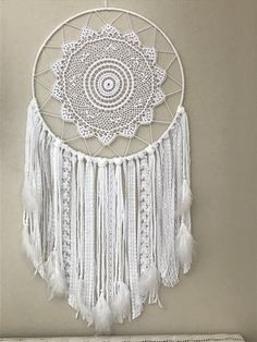 Giant white dream catcher - boho bedroom wall decor - white dream catcher w Giant Dream Catcher, Dream Catcher Boho, Doily Dream Catchers, Dream Catcher White, Boho Nursery, Nursery Wall Decor, Bedroom Wall, White Bohemian, Bohemian Decor