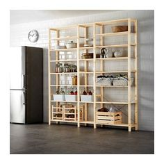IKEA - IVAR, 3 section shelving unit, Untreated solid pine is a durable natural material that can be painted, oiled or stained according to preference.You can personalize the furniture even more by staining or painting it your favorite color.You can move shelves and adapt spacing to suit your needs.