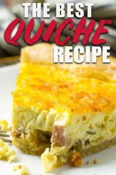 This is the best basic quiche recipe there is, I promise! It's easy and you can totally make it your own by adding any mix-ins you like-- bacon, ham and cheese, sausage, spinach, anything! #quiche #breakfast #bestquiche