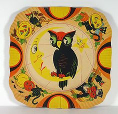 Early-Halloween-Paper-Party-Plate-with-Owl-Sun-and-Moon