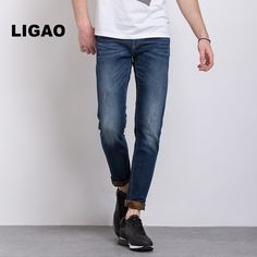 >> Click to Buy << LIGAO Mens Jeans Regular Casual Straight Pants Trendy Elastic Printed Scratched Cuffs Leisure Pencil Trousers Men Jeans Vaqueros #Affiliate