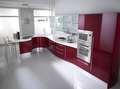 Violett Farbe Küchenschränke und Hochglanz Boden