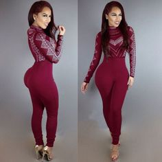HAOYUAN Sexy Bodycon Long Sleeve Jumpsuits Fashion Mesh Patchwork Geometric Rhinestone Rompers Womens Jumpsuit Combinaison Femme