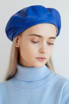 23d62a0197f2bc ELECTRA Electric blue eco leather beret, faux leather beret, leather beret,  blue fall beret, electric blue beret, women's leather beret hat