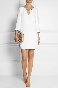 Dress all my style. Shift dresses with small metal detail White stretch-crepe Slips on rayon, elastane; Cute Dresses, Casual Dresses, Short Dresses, Casual Outfits, Fashion Dresses, Summer Dresses, Evening Dresses, Dresses Dresses, White Shift Dresses