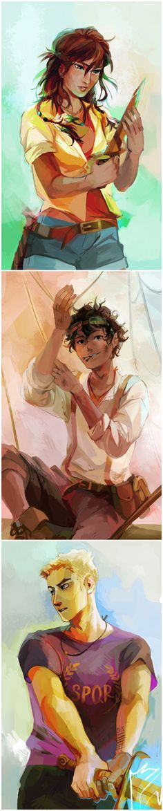 "Viria: Heroes of Olympus trio for Rick Riordan's website! I loved drawing Leo so much I think he's probably one of the most well-turned portraits:"") <<< I love Piper's Percy Jackson Film, Percy Jackson Annabeth Chase, Percy And Annabeth, Percy Jackson Memes, Percy Jackson Fandom, Percy Jackson Official Art, Percabeth, Solangelo, Magnus Chase"