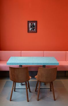 Louis Pretty Deli in Berlin | Yellowtrace_ Bright orange, blue laminate table, pink banquette, bold, colour blocking colours