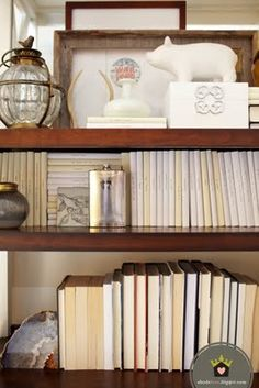 cream colored DVD covers with title written on it!  Great idea for decorating and keeping the room looking unified.