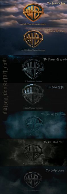 Evolution of the Harry potter Warner bros sign.