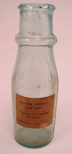 2220: Antique Shaker Blown Glass Bottle. Paper label re : Lot 2220