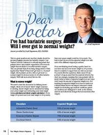 """Dear Doctor, I've had bariatric surgery. Will I ever get to normal weight?"" published in the Winter 2013 issue of ""Your Weight Matters Magazine."""