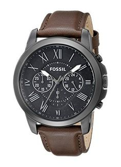 Fossil Men's FS4885 Grant Gunmetal-Tone Stainless Steel Watch with Brown Leather Band Fossil - citizen watches, designer watches for women, cheap branded watches for men *ad