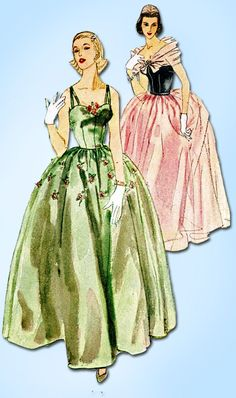 1950s Misses Simplicity Sewing Pattern 4001 Misses Evening Gown Dress Sz 11 29B