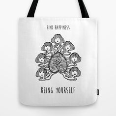 Find happiness being yourself - Positive quote + Vintage illustration Tote Bag by Twist The Print - $22.00