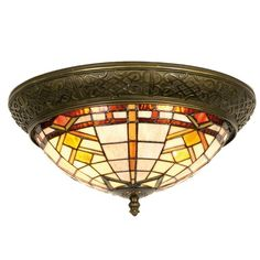 Prairie Tiffany Flush Ceiling Light by Tiffany Lighting Direct. Discover our Range, special offers of Tiffany Lamp, Art Deco and Traditional Lighting , free delivery. Tiffany Ceiling Lights, Glass Ceiling Lights, Ceiling Spotlights, Wall Lights, Ceiling Lamps, Art Nouveau, Art Deco, Jugendstil Design, Yellow Ceiling