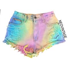 Pastel Rainbow High Waisted Colorful Tie Dyed Hipster Festival Fringed... ($50) ❤ liked on Polyvore featuring shorts, tie dye high waisted shorts, fringe shorts, high waisted denim shorts, high-waisted shorts and high-rise shorts