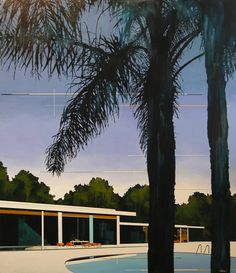 South coast palms, violet + modern home - acrylic on canvas (137.5 x 153cm) Jeffrey Smart