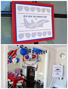 """When you name your son Maverick, you need to throw him a """"Top Gun"""" party. So we did just that and had a """"Top Gun"""" birthday party. 2nd Birthday Party For Boys, Planes Birthday, Third Birthday, Birthday Party Themes, Birthday Ideas, Happy Birthday, Top Gun Party, Airplane Party, First Birthdays"""