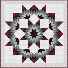 "= free pattern = Black, White & Currant Lone Star quilt, 90 x 90"", at Henry Glass Fabrics 