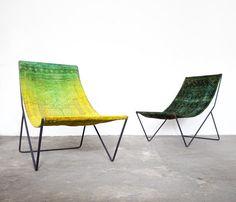 Reinterpretation of slingback chair Repurpose persian rug