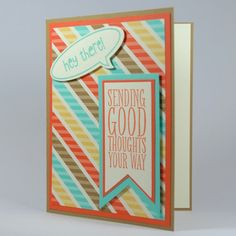 Sending Good Thoughts Handmade Card With Retro Inspired Colors   cardsbylibe - Cards on ArtFire