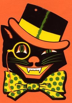 Vintage Beistle embossed black cat in top hat & monocle Halloween decoration Retro Halloween, Halloween Imagem, Halloween Fotos, Beistle Halloween, Vintage Halloween Images, Vintage Holiday, Holidays Halloween, Spooky Halloween, Happy Halloween