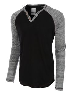 LE3NO Mens Long Sleeve Color Block Crewneck Henley Shirt