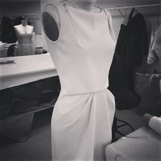 A  very chic day dress in #process in the #zacposen #atelier today!
