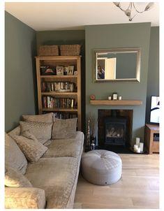 Sage Living Room, Log Burner Living Room, Feature Wall Living Room, New Living Room, Living Room Decor, Green Living Room Walls, Cosy Living Rooms, Green Living Room Ideas, Red Feature Wall