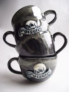 GOTH TEA TIME OH YES!  Large Skull and Poison Coffee / Tea Cup.
