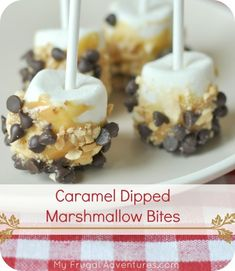Caramel dipped marshmallow bites.  These are a fun and easy alternative to caramel apples.  Dip them in candy bars, pretzels, nuts.... a perfect one bite party food!