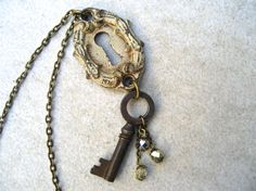 Antique French Lock And Key Necklace  Vintage Key by PieceLust