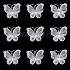 50± Glitter Wired Mesh Stocking Butterfly Wedding Invitations Card Making 3x2cm #Unbranded #AnniversaryValentine039sDayWedding