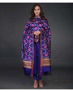 Purple Blue Banarasi Resham and Zari Hand Woven Dupatta With Suit Silk Anarkali Suits, Silk Lehenga, Silk Dupatta, Saree, Indian Dresses, Indian Outfits, Gota Patti Suits, Gharara Pants, Phulkari Embroidery