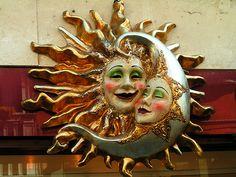 Sun and moon paper maché Sun Moon Stars, Sun And Stars, Love Moon, Moon Decor, Moon Images, Modelos 3d, Sun Art, Paper Clay, Polymer Clay Art