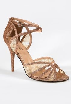 High Heel Lace and Glitter Ankle Wrap Sandal from Camille La Vie and Group USA