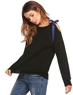1f638b6f4cefa5 Zeagoo Women's Off Shoulder Long Sleeve Loose Pullover Sweater Knit Jumper  Black