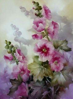 Andrew Orr Fruit Painting, China Painting, Ceramic Painting, Watercolor Flowers, Watercolor Paintings, Watercolors, Hollyhocks Flowers, Leaf Art, Vintage Flowers
