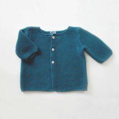 gilet bébé tricoté coton point mousse Bleu canard