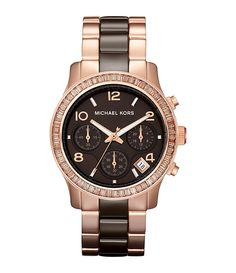 Michael Kors Ladies Runway Rose Goldtone & Espresso Watch | Dillards.com