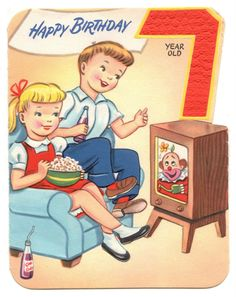 716 best kids birthday cards images on pinterest kids birthday kids watch cartoons on old tube television tv vintage childrens birthday card m4hsunfo