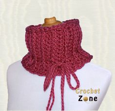 Knit Look Ribbed Cowl in Red by CrochetZone.com