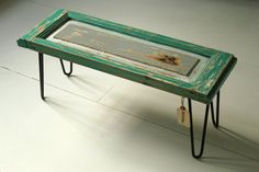 Vintage Door Bench with Hairpin Legs by MandraDesign