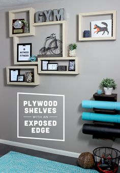 Plywood Shelves for our Home Gym | Gray House Studio | Bloglovin'